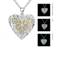 Wholesale Love Heart Shape Light - Hollow Heart-shaped Dazzling Luminous Locket Necklace 925 Sterling Silver Plated Jewelry Light in the Dark for Lady Girls Fashion Gift