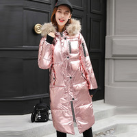 Wholesale Rose Trench Coat - Women's Trench Coats New Stylish Metal Rose Gold Grey Silver Silver Bright Color Down Cotton Padded Jacket Outerwear Coat Tops abrigos mujer