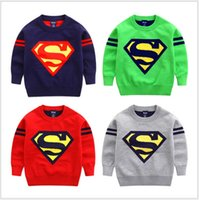 Wholesale Knitting Patterns For Boys - Children Sweaters For 2016 Autumn New Kids Clothing Children Boys Children Superman Pattern Knitting Sweater Pullover CD215