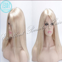 Wholesale Silky Straight Blonde Wig - #60 Blonde Human Hair Lace Front Wig Brazilian Hair Long Silky Straight Wig With Bleached Knots Baby Hair