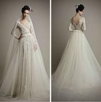 Wholesale ersa atelier wedding dresses - Sexy Open Back Dresses 2017 Elegant Long Sleeves Lace Wedding Dresses Ivory A-Line Bridal Gowns by Ersa Atelier