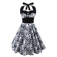 Wholesale gothic clothing wholesale - Wholesale- 5XL Large size skull printed dress Women punk strapless halter party dresses Bowknot self gothic dress clothing Swing 1950s 60s