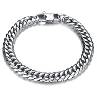 Wholesale High Polished Silver Link Bracelet - Heavy Metal Biker Men's Cuban Curb Link Chain Bracelets Cuff Wristband High Polish Punk Rock Mens Jewelry