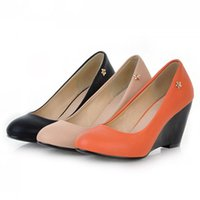Wholesale Ladies Orange Wedge - Women Sexy High Heel Dress Shoes Pointed Toe Wedge Pumps Ladies Simple Elegant Wedding Party Shoes Size 34-43