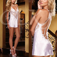 Wholesale Ladies Underwear Babydoll - Wholesale-Women Sexy Backless Lace Dress Satin Lingerie Nightwear Underwear Ladies Sleepwear Babydoll