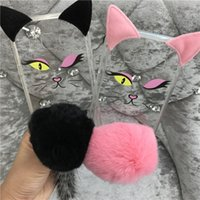 Wholesale Balls Pussy - Transparent Case 3D Cute Pussy Cat Ear Tail PC TPU Case Furry Back Cover Cartoon Fluffy Plush Fur Ball For Iphone x Case