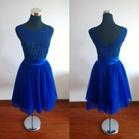 Wholesale Lace Tulle Girl Dress China - Royal Blue Short Prom Dresses 2016 Real Pictures Tulle Appliques Lace A-line China Graduation Girl Party Gowns Vestido De Festa Curto