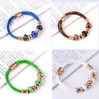 Wholesale Stardust European Beads - 2016 New Stardust Crystal Beads Bracelets For Women Fashion Magnetic Clasp Warp Charm Love Bracelets Bangles
