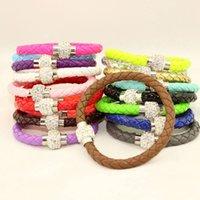 Wholesale Shamballa Pieces - Wholesale- 7 Pieces Lot Mix New women bracelets pulseiras unique PU leather bracelet shamballa bracelet with magnetic clasp pulseras mujer