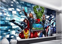 Wholesale avengers stickers - 3d wallpaper custom photo non-woven mural wall sticker The avengers alliance heroes painting picture 3d wall room murals wallpaper