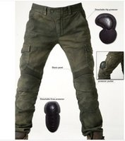 Wholesale Men S Locomotive - free shipping Men's motorcycle pants uglyBROS 06 Motorpool riding jeans racing Protective pants of locomotive Black Stain over Olive green