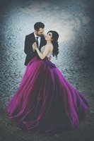 Wholesale Wow Ball - Wow ! Purple Luxury Arabic Ball Gown Wedding Dresses 2017 With Crystals Beaded Ruched Tulle Plus Size Bridal Gowns Outdoor Vestidos De Noiva