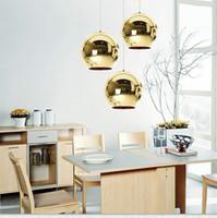 ayna topu ışıkları modern toptan satış-Ayna Topu Kolye Kaplama Cam Topu Avize Modern Sanat Aydınlatma Tom Dixon Kaplama Topu Kolye Işıkları Gümüş Altın Bronz