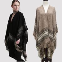 Wholesale Womens Shawl Coat - New Womens Winter Poncho Cape Coat Shawl Cardigan Wool Coats Cloak Pashmina Tassel Scarf Overwear