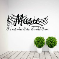 Wholesale Note Musical Sticker - Music Is Not Wall Quote Decal Vinyl Word Dance Musical Notes Room Wall Sticker
