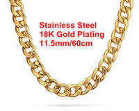 Wholesale Gold Plated Curb Chains - Newest High Quality 18K Gold Plated 316L Stainless Steel Punk Large Curb Chain Necklace For Men