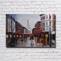 Wholesale Large Hand Painted Canvas Art - Hand Painted Modern City Landscape Oil Painting Home Decoration Wall Pictures Large Canvas Art Hanging Wall No Framed