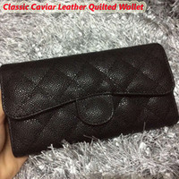Wholesale Quilted Black Purse - Hot selling black classic caviar leather quilted wallet women's genuine calfskin leather wallet card holder purse 5 Mix design free shipping