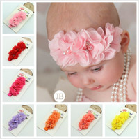 Wholesale gril flower for sale - Group buy Gril baby flowers hair bands pearl Crystal Chiffon flower combination set Elastic Headbands Headwear head band Hair Accessories