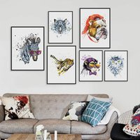 Wholesale Zebra Print Wall Decor - Original Watercolor Fashion Animals Head Zebra Lion A4 Large Art Prints Poster Wall Pictures Canvas Painting No Frame Home Decor