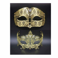 Party Masks Sexy Face Mask 1 Set Gold Phantom Crown Set Anniversaire Robe Costume Mariage Party Ball Metal Venetian Men Women Mask Set