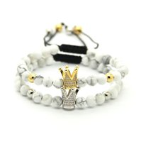 Wholesale bracelet stone howlite for sale - mm White Howlite Marbel Sediment Stone Beads Gold and Platinum Crown Braided CZ beads Bracelet