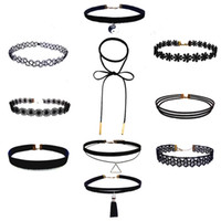 Wholesale Womens Lace Tattoos - 10pcs set Womens Black Velvet Choker Necklace for Girls Lace Choker Tattoo Necklace 5 Styles For Girl Fashion Clavicle Chain B606Q