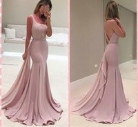 Wholesale two piece skirt jacket - 2016 Pink Mermaid Evening Dresses Square Peplum Ruffle Skirt Hollow Back Flare Sweep Train with Beaded Belt Prom Gowns