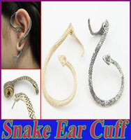 Wholesale Snake Ear Wraps Wholesales - Vintage Silver & Bronze Metallic Punk Snake Ear Cuff Clip Earrings for Women Fashion Piecing Jewelry Ear Wrap for Girls Ear Cuff Jewelry Hot