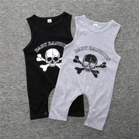 Wholesale Clothes For Boys China - kids boys sleeveless rompers wholesale from china high quality skull rompers for toddler 100% cotton clothes for baby