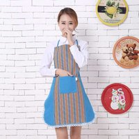 2017 New Korean Cotton Stripe Lace Avental sem mangas Avental de cozinha de moda para adultos com bolsos Keukenschort Delantal Cocina