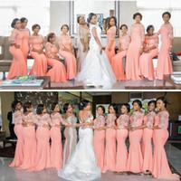 orange wedding bridesmaid gowns toptan satış-Açık Turuncu Artı Boyutu Gelinlik Modelleri 2017lace Illusion Uzun Kollu Mermaid Hizmetçi Onur Törenlerinde Şifon Düğün Konuk Elbiseler