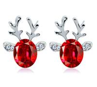 Wholesale Dimensional Animal Earrings - New fashion Christmas earrings blue pink Crystal Rhinestone jewel antler earrings Three - dimensional Christmas reindeer studs