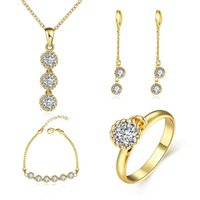 Wholesale European Necklace Earring Sets - K gold zircon European and American fashion popular lace ms circular zircon necklace ring earrings bracelet with 4 times