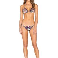 Wholesale Colorful Padded Bra - 2016 Women Colorful Print Strappy Thongs Triangle Bikini Set Padded Bra Swimwear Swimsuit Biquini Beachwear Bathing Suit S M L