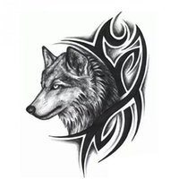 """Wholesale Free Wolf Tattoos - 12*19cm   4.72""""*7.48"""" As the pictures show Large Wolf Head Waterproof Temporary Removable Tattoo Body Arm Leg Art Sticker FREE SHIPPING"""