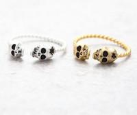 eşsiz kafatası halkaları toptan satış-10 adet / Moda Tiny Kafatasları Yüzük-Gümüş Kafatasları Yüzük, kadınlar için ayarlanabilir benzersiz yüzükler Toptan Ücretsiz kargo