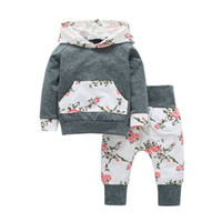 Wholesale Wholesale Clothing American Apparel - 2017 Girls Baby Hooded Clothing Sets Floral Hoodies Pants 2Pcs Set Spring Autumn Cotton Toddler Apparel Boutique Infant Clothes Outfits