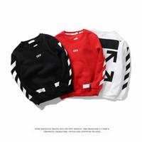 Wholesale Cool Men Sweaters - 2017 Off White Men Stripe Hoodies Hip Hop Cool Sweatshirts Mirror Printing Sweater Causal Cotton Clothing