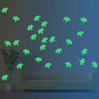 Lovely Green Leaves E Triciclo Night Light Lovers 'Decals Maple Wall Stickers Arte Vinyl Wall Decals Home Decor Mural