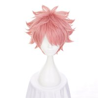 Wholesale Shaggy Wigs - 30cm Pink Short Shaggy Layered Fluffy Synthetic Hair High Temperature Fiber Cosplay Wig Men's Halloween Party Costume Wig