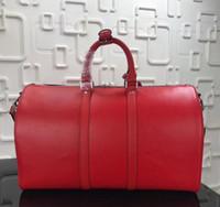 erkek marka seyahat çantası toptan satış-En Hakiki Deri yeni moda erkekler kadınlar seyahat çantası duffle çantası marka tasarımcısı bagaj çanta büyük kapasiteli spor çanta 45 CM