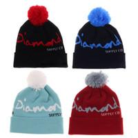 neue diamanthüte großhandel-Neue Hüte Beanies-Diamant-Wollhüte mit Wollballhiphophut-Hip-Hop-Haube populärer Strickmütze-Baseballhutherbst und -winter wärmen Hut