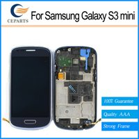 galaxy s lcd assembly toptan satış-Kaliteli Samsung Galaxy S3 Mini I8190 Için Lcd Digitizer Ekran Meclisi Gri veya beyaz ile Çerçeve Ücretsiz Kargo