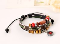 Wholesale Small Pendant Gift Boxes - Adjustable unisex leather bracelet small jewelry wholesale pendants bracelets fashion leather bracelet beaded bracelet