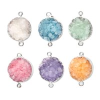 Wholesale Silver Edge Jewelry - Druzy Stone Necklace Pendant DIY Natural Stone Edge Covering Charm 15mm*15mm*6mm Silver Natural Druse Accessories For Jewelry Making