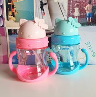 Wholesale Drinking Bottle Kids - 4 Colors Baby Kids Cute Cup Children Learn Feeding Drinking Water Straw Handle Bottle, School Drinking Bottle