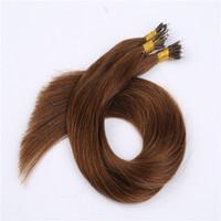 Wholesale Cheap Keratin - Cheap Russian Virgin Nano Tip Ring Hair Extensions Straight Hair Keratin Hair Extensions #1B,#2,#4,#6,#8,Grey,#27,#613 In Stock