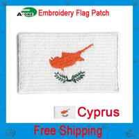 "Wholesale Wholesale Jackets Low Price - Cyprus embroidered flag patch 2.5""*1.5"" hot cut iron on100%emb low price good quality embroidery patch on the jacket"