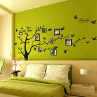 siyah fotoğraf çerçevesi ağacı toptan satış-Ev Dekorasyon 3D Sticker Duvardaki Siyah Sanat Fotoğraf Çerçevesi bellek Ağaç Duvar Çıkartmaları Ev Dekor Aile Ağacı Duvar çıkartması